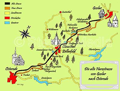 Goslar Karte.Alte Harzstrasse Zwischen Goslar Und Osterode Im Harz
