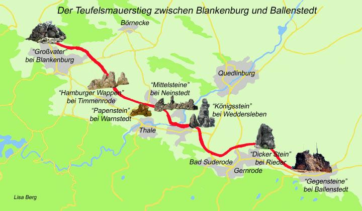 Wanderwege Deutschland Karte.Der Teufelsmauer Stieg Im Harz Ausflugsziele Und Sehenswertes Im Harz
